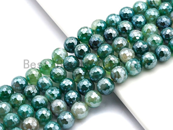 Mystic Plated Faceted Green Agate beads, 6mm/8mm/10mm/12mm Agate Gemstone beads, Natural Agate Beads, 15.5inch strand, SKU#U444