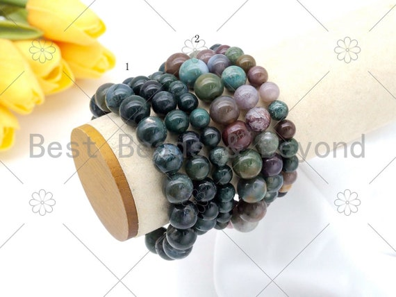Quality Natural Moss Agate/Indian Agate Stretchy Bracelet, 8mm/10mm/12mm Elastic Fit Round Smooth, 7.5'' Agate Bracelet,Sku#EF61