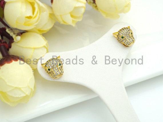 CZ Micro Pave Leopard earrings, Leopard stud earrings, Panther gold earrings, trendy earrings, 11mm, sku#J282