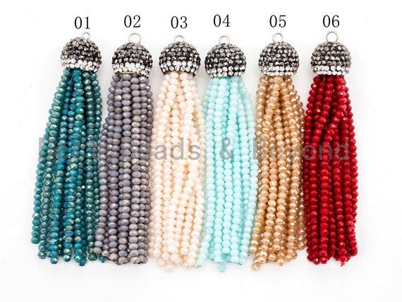 1PC/5PCS  Crystal Beaded Tassel Pendants,Glass Crystal Beads,Pave CZ Rhinestone Cap, Tassel Necklace Enhancer, 3'' long, Sku#B67
