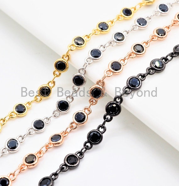 1 Foot/Yard- Black CZ Beaded Chain-4mm Cubic Zirconia Gold Silver Rose Gold Gunmetal Plated Bezel Chain, Bezel Connector Beads, sku#E402