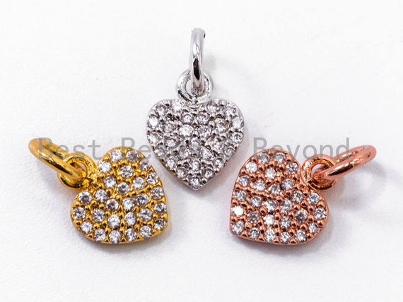 Clear CZ Micro Pave 7x9mm Heart Charm, CZ Pave Charm in Gold/Rose Gold/Silver Finish, sku#Y29