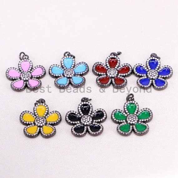 NEW Colorful Enamel Oil Drop Spring Blooming Flower Charm Pendant, Cubic Zirconia Enamel Charm, Fashion Jewelry, 25x28mm, SKU#F608F