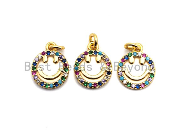 CZ Colorful Micro Pave Smiley Face Charm/Pendant, Round Face Shaped Pave Pendant, Gold plated, 10x12mm, Sku#F843