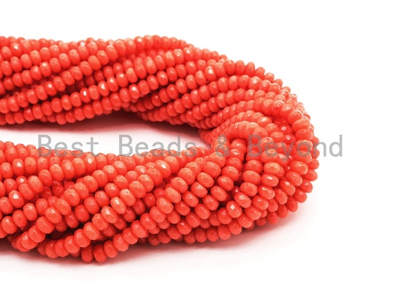 Quality Natural Dyed Red Coral Beads, 2x4mm Rondelle Faceted Gemstone Beads,Loose Coral Beads, 15.5inch strand, SKU#U120