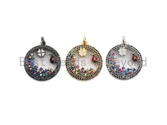 Colorful CZ Micro Pave Hollow Out Clover and Ladybird Pendant/Charm, Silver/Black/Gold Tone, 20x25mm,Sku#Z592