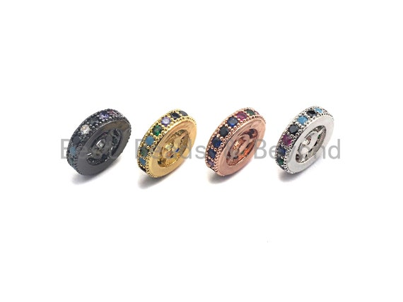 PRE-SELLING Colorful CZ Micro Pave Round Wheel Spacer Beads, Cubic Zirconia Spacer beads, Bracelet spacers, 8mm/10mm,sku# C108
