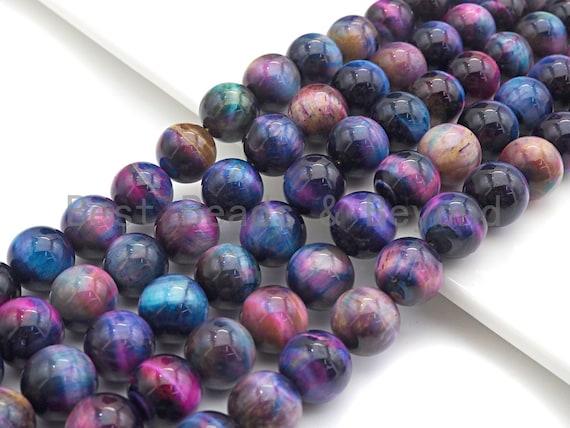 "NEW GALAXY COLOR!! Natural Tiger eye Beads Round 4mm/6mm/8mm/10mm/12mm/14mm, Galaxy Tiger Eye, Purple Blue Pink, 15.5"" Full strand, sku#U597"