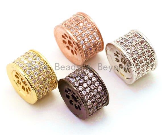 CZ Micro Pave Cylinder Spacer Beads with Clear Crystal for Bracelet/Necklace, Cubic Zirconia Beads, Bracelet Charms, 10x7mm,sku#G43