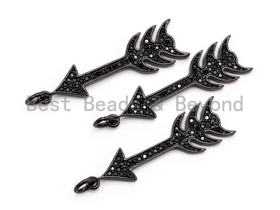 Black CZ Pave On Black Micro Pave Cupid Arrow Charm, Cupid Arrow Beads, Men's Jewelry Findings, Pave Arrow Charm Pendant 8x31mm, sku#F385