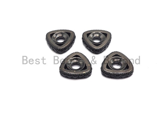 Micro Pave Black CZ Pave On Black Large Hole Triangle Shape Spacer Beads, Cubic Zirconia Triangle Space Beads,2x10mm, SKU#C94