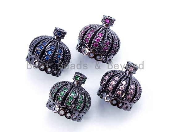 13mm CZ Micro Pave Crown Pendant Tassel Cap, Black Rhodium Plated Cubic Zirconia Tassel Cap,Fuchsia/Green/Blue Color Cap Beads,Sku#F88