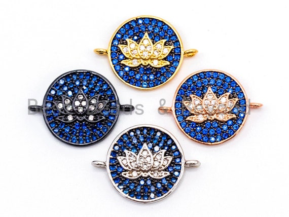 CZ Micro Pave Lotus Flower on Cobalt Plated Disc Round Connector, CZ Cubic Zirconia Space Connector, Yoga Charms, 20mm,sku#Y23