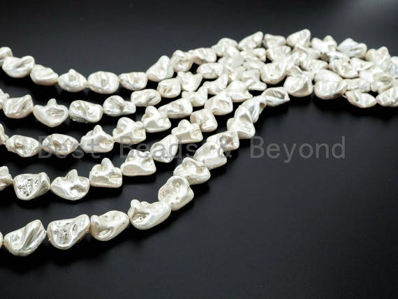 Quality Natural Mother of Pearl beads, 15-21mm, White Irregular Plated Pearl Shell Beads, 16inch strand, SKU#T109