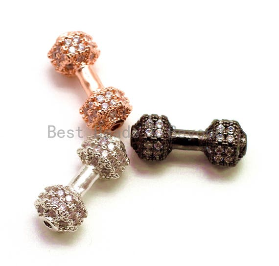 1PC/2PCS CZ Dumbbell Clear Micro Pave Beads, Cubic Zirconia Spacer Beads, Fitness Barbell Spacer, Men's Bracelet Charms, 16x6mm sku#G129
