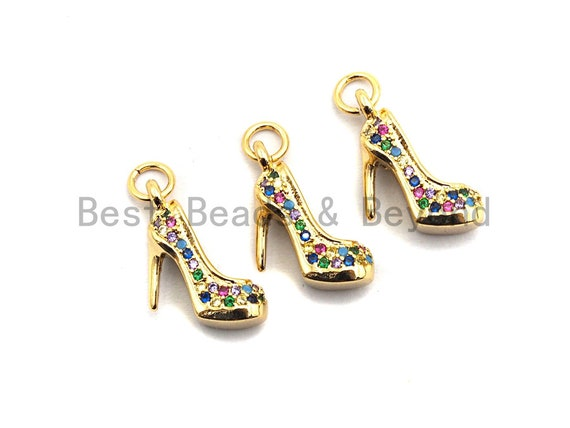 CZ Colorful Micro Pave High-heel Shoes Pendant, High-heel Shoe Pave Pendant, Gold plated, 16x6mm, Sku#F829