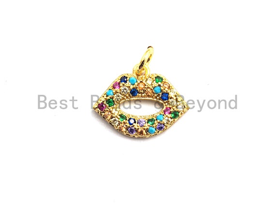 CZ Colorful Micro Pave Lip Charm, Lip Shaped Pave Pendant, Gold plated, 12x15mm, Sku#F750