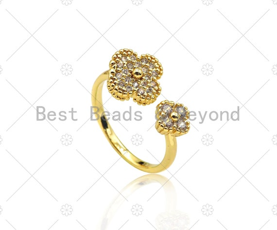 CZ Micro Pave Clover Shape Adjustable Ring, Cubic Zirconia 18K Gold Filled Oepn Ring, CZ Clover Ring, 20mm,Sku#X208