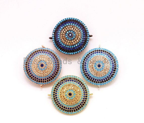 CZ Micro Pave Turquoise Cobalt Round Coin Connector for Bracelet/Necklace, Cubic Zirconia Space Connector, 23mm, 1pc, sku#E27