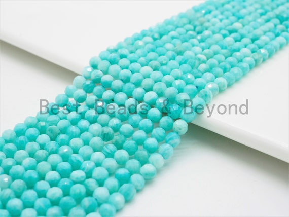 2x3mm/4mm High Quality Natural Amazonite beads, Rondelle/Round Faceted Gemstone Beads, 15-16inch strand, SKU#U367