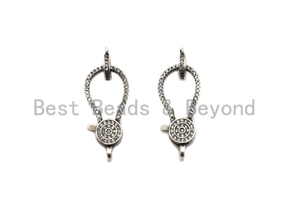 CZ Clear Micro Pave Lobster Clasp with Jumping Ring Clasp, Fine Jewelry Clasp, Antique Silver Clasp, 13x29mm,sku#H172