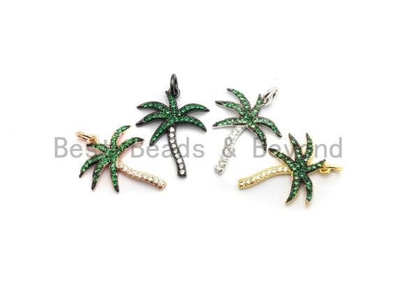 Green CZ Micro Pave Coconut Tree Pendant, Palm Tree Pave Pendant, Gold/Rose Gold/Silver/Gunmetal plated, 17x21mm, Sku#F698
