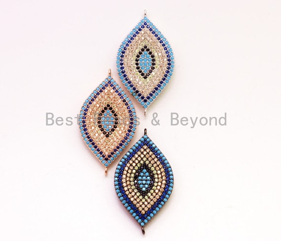 CZ Micro Pave Turquoise Cobalt Black Double Bails Evil Eye Connector/link finding, Cubic Zirconia Space Connector, 20x40mm,sku#E22