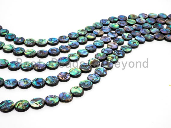 8mm/10mm/12mm/14mm Natural Abalone Flat Coin Shell beads, Loose Round Smooth Coin Abalone Shell Beads, 16inch strand,SKU#R2
