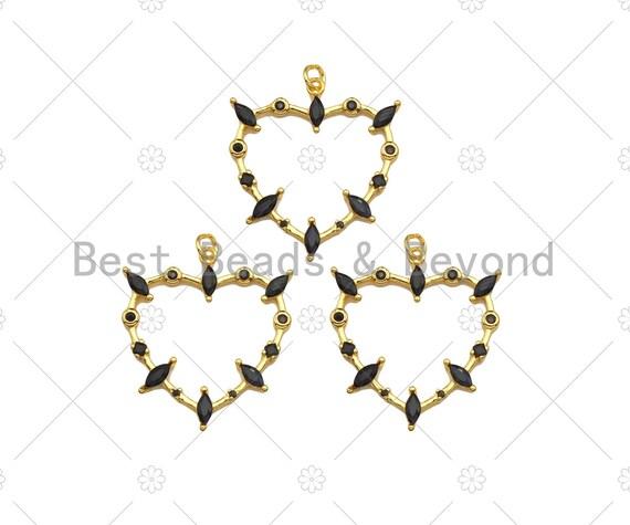 Gold Filled Heart Frame Shape Pendant, Black Micro Pace CZ 18K Gold Filled Charm, Necklace Bracelet Charm Pendant,28x30mm,Sku#Z1356