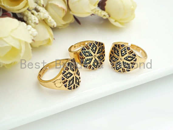 PRESELLING Pave Flower Ring, Dainty Gold Rings, Adjustable Pave Band Ring, Statement Ring, Rings for Women, Minimalist Jewelry, sku#X166