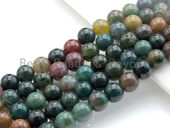 """Natural Indian Agate, Round Smooth 6mm/8mm/10mm/12mm, 15.5"""" Full Strand, sku#U636"""