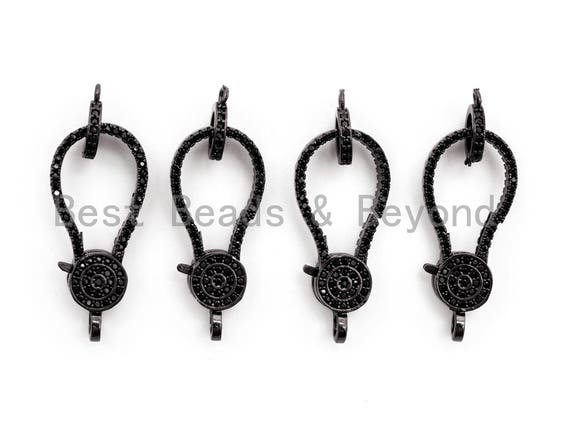 Black CZ Pave On Black Micro Pave Lobster Clasp with Jumping Ring Clasp, Fine Jewelry Clasp, Designer Clasp,  28x12mm,sku#H112