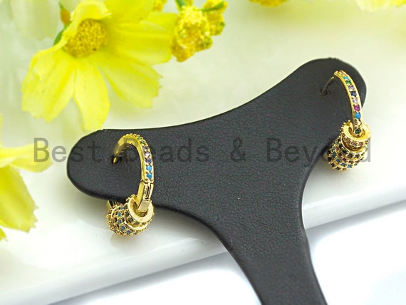 Pre-Selling Colorful CZ Micro Pave Huggie Hoop Earring, Big Ring With Five Little Rings Shaped Earring, CZ Gold Earring, 6x18mm,sku#J121