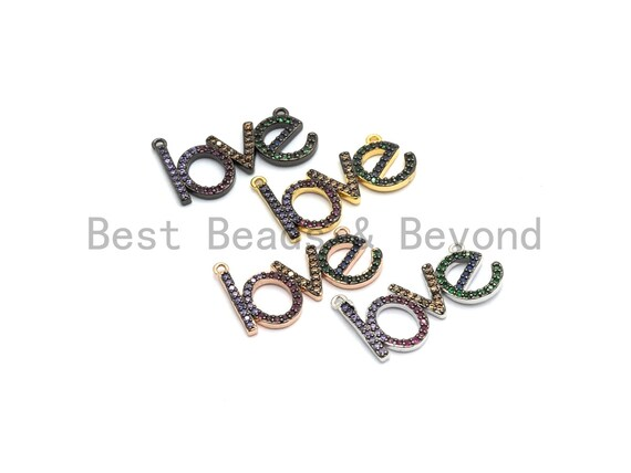 Rainbow CZ Micro Pave LOVE Letter Pendant with bail, Cubic Zirconia Love Pave Pendant Beads, Pave Pendant, 14x23mm,sku# F659