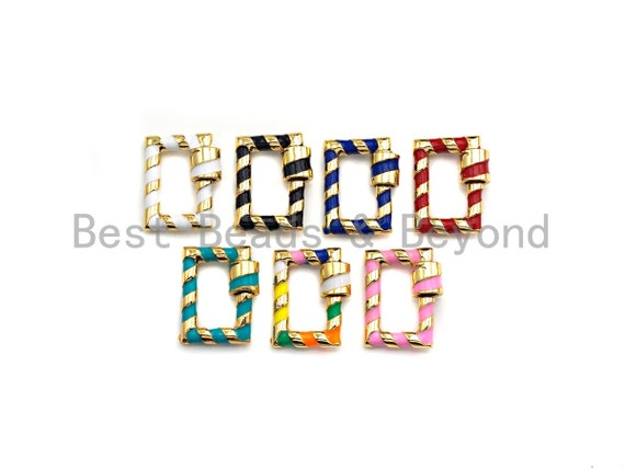 PRESELLING Colorful Enamel Pave Rectangle Shape Clasp, Carabiner Clasp, 15x19mm, sku#H249