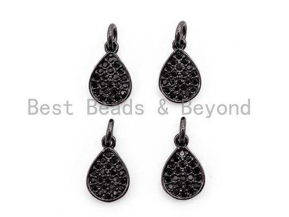 Black CZ Pave On Black Micro Pave Teardrop Charm Beads,8x12mm, sku#F392
