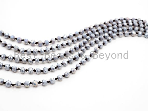 "60""/36"" Long Hand Knotted AB Gray Color Crystal Necklace, Long Necklace, Gray Color 2x4mm/5x8mm Rondelle Faceted Crystal Beads, SKU#D13"
