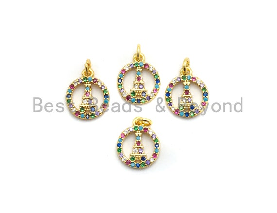 CZ Colorful Micro Pave Round With Eiffel Tower Pendant, Hollow out Round Shaped Pave Pendant, Gold plated, 10x12mm, Sku#F722