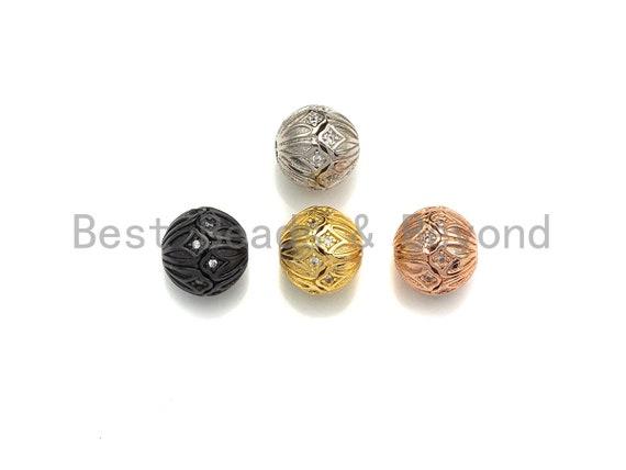 CZ Micro Pave Round Flower Patten Spacer Beads for Bracelet/Necklace, Cubic Zirconia Bracelet Beads, 10mm, sku#X114