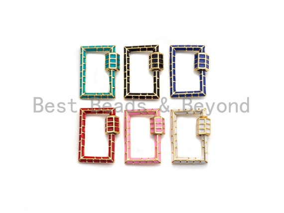 PRESELLING Enamel pave Rectangle Shape Clasp, Enamel Pave Clasp, Black/Red/Pink/White/Blue/Green Carabiner Clasp, 18x24mm, sku#1H235