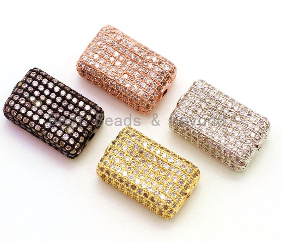 CZ Micro Pave Rectangle Beads with Clear Crystal for Bracelet/Necklace, Cubic Zirconia Spacer Beads,17x11x6mm, sku#G22