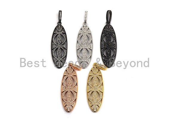 PRE-SELLING CZ Micro Pave Hollow Out  Long Oval Shaped Pendant/Charm, Cubic Zirconia Pendant Charm,15x46mm,sku#F913