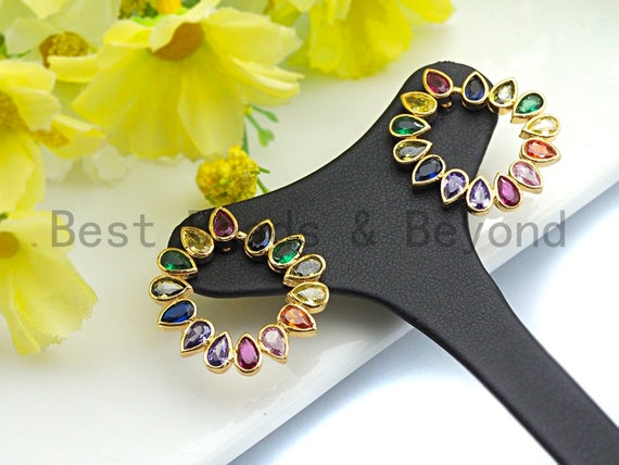 PRE-SELLING Clorful CZ Micro Pave Stud Earring,Round Sunflower Shape Earrings, Colorful Cz micro pave earrings,24x26mm,sku#J128