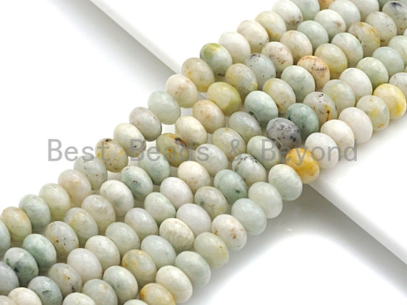 """2mm Large Hole Natural Chinese Agate Beads, Rondelle Smooth 6x10mm/5x8mm, 8"""" Long Strands, sku#U707"""