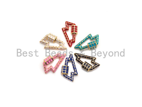 PRESELLING Colorful Enamel pave Lighting Shape Clasp, Enamel Pave Clasp, Black/Red/Pink/White/Blue/Green Carabiner Clasp, 16x26mm, sku#H233