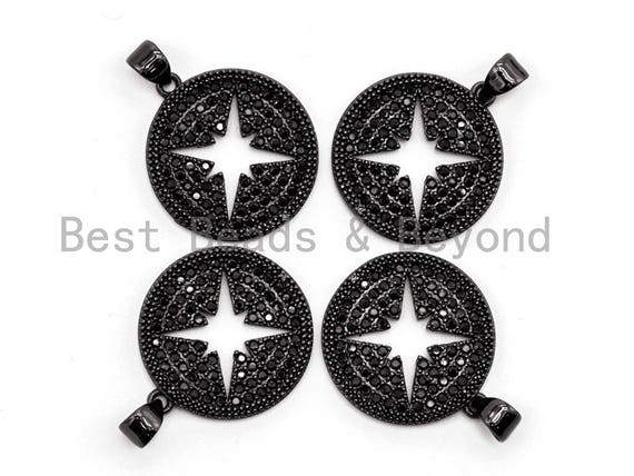 Black CZ Pave On Black Micro Pave Hollow Star Round Pendant/Charm, Cubic Zirconia Pendant, 18x21mm, F374