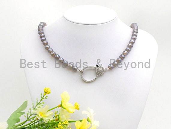 """Gray Agate Attachment Necklace with Large CZ Pave Silver clasp, 18"""" long, 8mm/10mm beads size, sku#D42"""