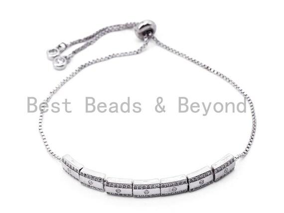 CZ Micro Pave Adjustable Bracelet, thin link bracelet, Silver Gold Rose Gold bracelet, 51x5mm, sku#P12