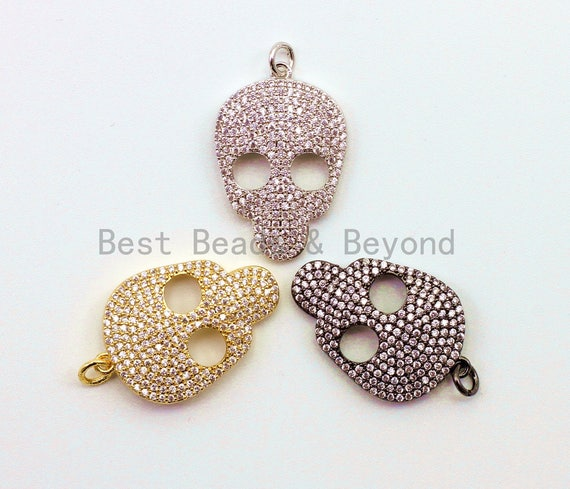 CZ Micro Pave Skull Head Charm Beads, Cubic Zirconia Charms, CZ Hollow Pendant for Bracelet/Necklace, Halloween Beads,18x31mm, 1pc sku#F41