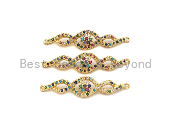 PRE-SELLING Colorful CZ Micro Pave Link Shape Connector/Link, Cz Pave Bracelet Necklace Connector in Gold Finish,9x38mm,sku#M272